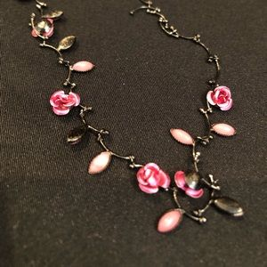 Pink Rose Necklace Dainty Beautiful Black Chain